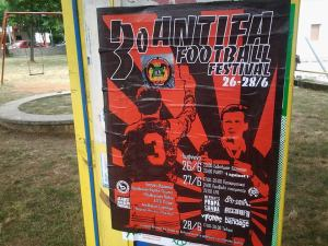 Antifa Football Festival in Greece with a sticker from Antifa Ekaterinburg.