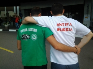 A Greek and Russian anti-fascist before the match between Dinamo Moscow and Omonia Nicosia.
