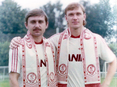 Cherenkov and his friend Rodionov before Spartak's UEFA Cup game in London against Arsenal in 1982.