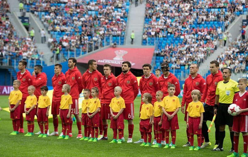 The Russian national team prior to the game against New Zealand. Photo: Кирилл Венедиктов - soccer.ru