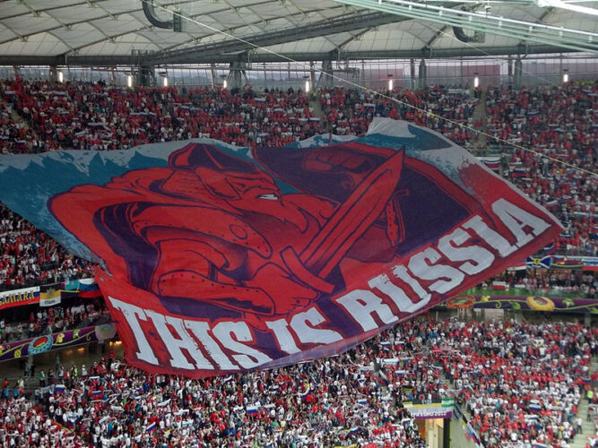 Russian tifo before the group stage game against  Poland. Photo: Piotr Drabik