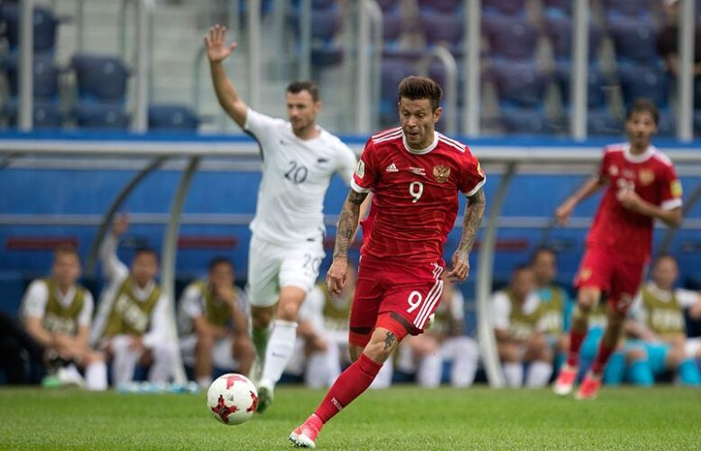 Fyodor Smolov during Russia's Confederations Cup game against New Zealand. Photo: Кирилл Венедиктов/Soccer.ru